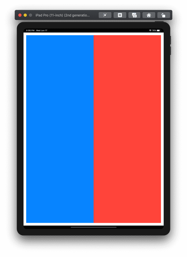 Red and blue squares filling space equally on a large screen